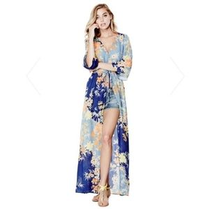 S Guess Constanze Bell-Sleeve Duster Floral Dress
